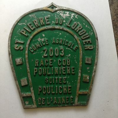 Vintage  French Agricultural Metal Cast Horse Related Award Plaque / Prize