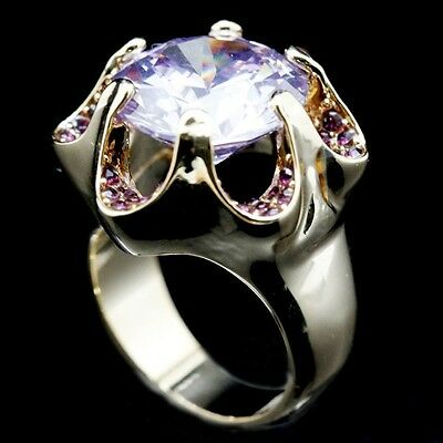 Band Wedding Flower Iced Bling CZ 18K Gold Plated Micro-Pave Sz 7-9 Women Ring