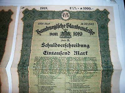 German Stock Certificates W/ Coupons 1919