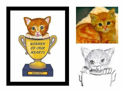 Unique Custom Bespoke  Hand Drawn Cute Kitten Gift Idea Picture B/day Pet Lover