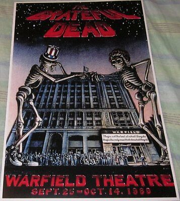 Grateful Dead 1980 Warfield Theatre Replica Concert Poster W/top Loader