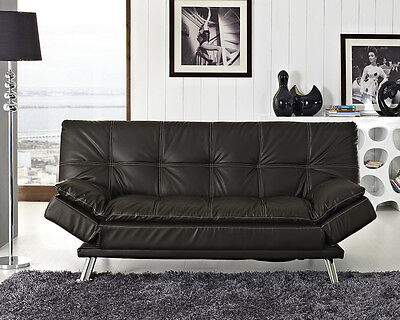 Faux Leather Sofa Bed Black Brown 3 Seater Adjustable Arms Designer Sofabed New