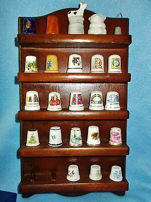 Wooden Thimble Holder With Thimbles