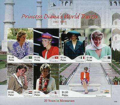 Palau 2017 MNH Princess Diana 20th Memorial Anniv 7v M/S II Royalty Stamps