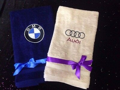 Embroidered Bmw Audi Hand Towel Gift For Him