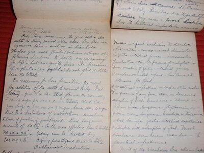 2 Vintage Hand Written Notebooks By A Doctor  1931 Medical Nutritional Digestion