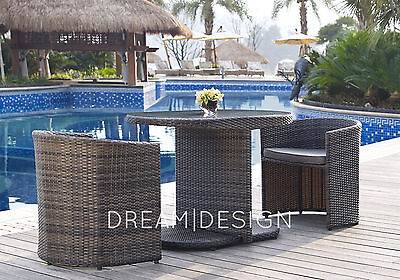 2 Chairs and Table Rattan Set Garden Furniture Foldaway Outdoor Conservatory Set