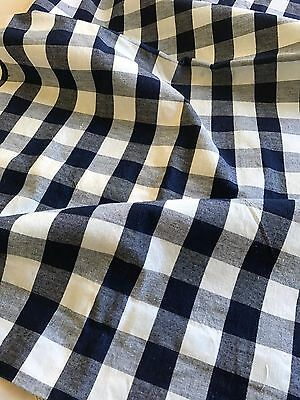 ANTIQUE FRENCH SMALL DUVET COVER KELSCH - DEEP BLUE CHECK FABRIC - Unused