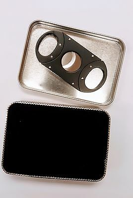 Silver Stainless Steel Pocket Cigar Cutter Knife Scissors Double Blades