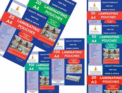 A4 A3 150 250 Micron Laminating Pouches Laminate Pouch in 20 50 100 Packs Lot UK
