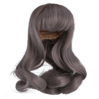 Gray Curly Long Hair Wig Hairpiece Fit 1/6 LUTS CUITE Dollfie SD BJD Doll