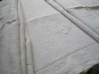 Beautiful French Pure Linen Sheet, Gorgeous Bedding Fabric Or Curtain