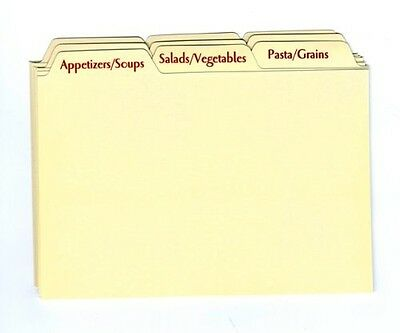 Recipe Card Box Tab Divider Set, New, for 4 x 6 Boxes, from Meadowsweet Kitchens
