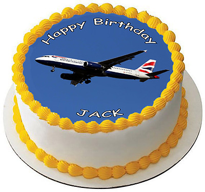 AEROPLANE JET 7.5 PREMIUM Edible ICING Cake Topper - YOUR OWN TEXT - AIRPLANE D2