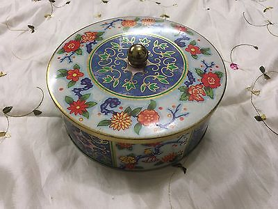 Daher Vintage Collectible Made In England Multi-Colored Floral Tin Container
