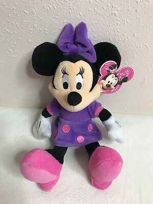 """Disney Plush Minnie Mouse in Purple Dress 10"""" Just Play LLC NEW WITH TAGS 2012"""