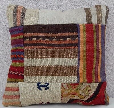 16''x16'' Square Multi Colored Area Rugs Wool Patchwork Kilim Kelim Pillow Cover