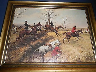Framed print red and black coat fox hunters and horses