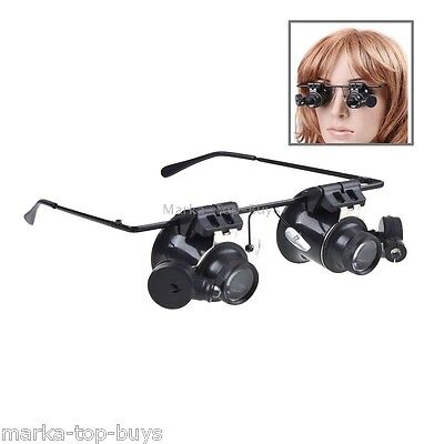 20X Glasses Type Watch Repair Loupe Magnifier with LED Light