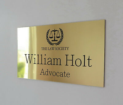 Custom Laser Engraved Office Wall Sign, Personalised Door Plaque, Name, Logo