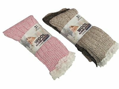 3 Pairs Ladies Wool Boot Sock Hiking Sock With Lace Top