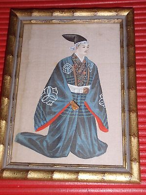 Antique Original Painting On Silk Asian Man On His Knees In Robe & Hat 6.5X4.75""