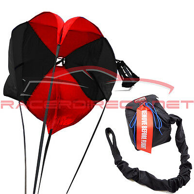 Drag Parachute Spring Loaded Black & Red Drag Chute Pro Spring Parachute