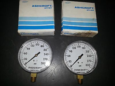 2 - New Ashcroft 355-09 0-300Psi 1/4 In Npt Bottom Pressure Gauge. New !