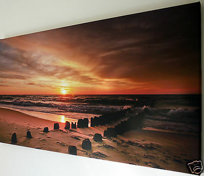 """Sunset  Beach  Scene Wall Art Canvas Picture Large 18"""" X 32"""""""