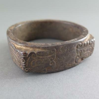 Very Early Chinese Iron Cong Archaistic Form Possibly Bangle?