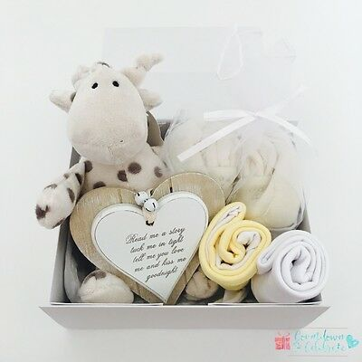 New Baby Gift Box Hamper Baby Shower Basket Yellow Baby Arrival Unisex Neutral