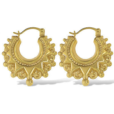 9Ct Yellow Gold 20Mm Round Victorian Spike Earrings Creole Tube Gypsy Hoop Box