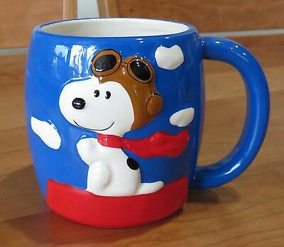 "Large Snoopy Flying Ace Ceramic Coffee Mug Cup by Galerie 4.25"" x 4"""