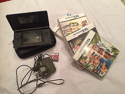 Nintendo Onyx Black DS Lite With Five Games & Free Case Bundle