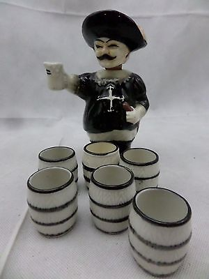Japanese  antique Cork/ Bottle  Musketeer plus 6 X cups                     B172