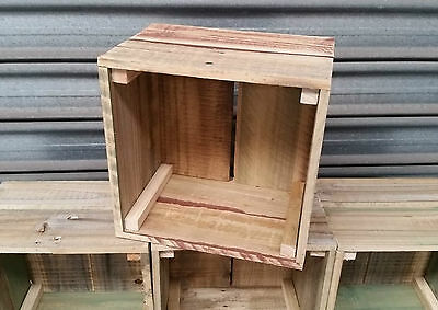 Square Timber Crate Wooden Fruit Box Recycled Timber Book Case Shelf
