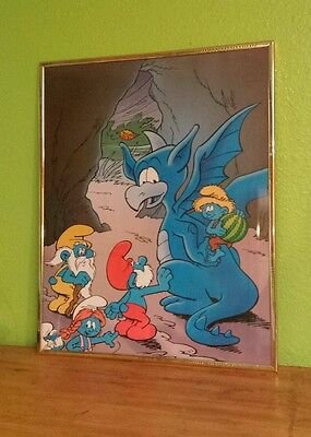 SMURFS IN DRAGON CAVE Framed Poster Print By Sunshine Holland, Heerde CARTOON