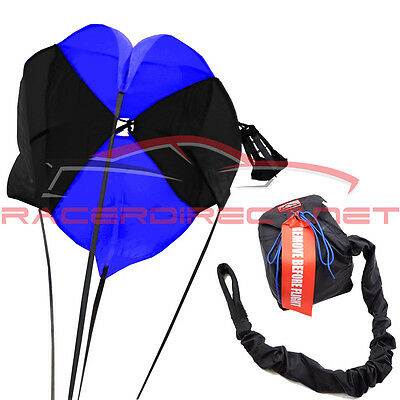 Racerdirect.net Drag Parachute Spring Loaded Black & Blue Drag Chute