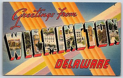 """""""Greetings from WILMINGTON, DELAWARE"""" Large Letter Linen Postcard Unused"""