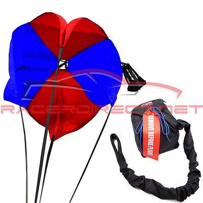 Racerdirect.net Drag Parachute Spring Loaded Red & Blue Drag Chute