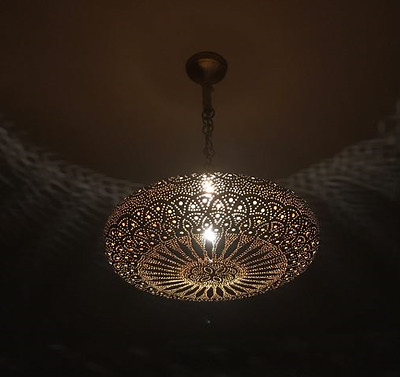 Antique Brass Moroccan Pendant Lamp  open pressed ball suspension