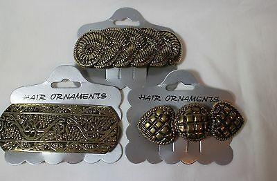 3 New VTG Antique Gold Large Hair Pin Barrettes Lot
