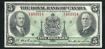 1935 $5 Five Dollars The Royal Bank Of Canada Extremely Fine