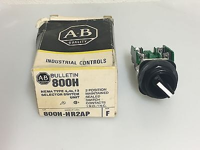 Allen-Bradley 800H-HR2AP Selector Switch 2-Position Maintained Sealed Contacts