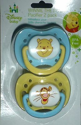 NEW Disney Baby Boys Winnie The Pooh Tigger BPA Free Pacifiers 2-Pack