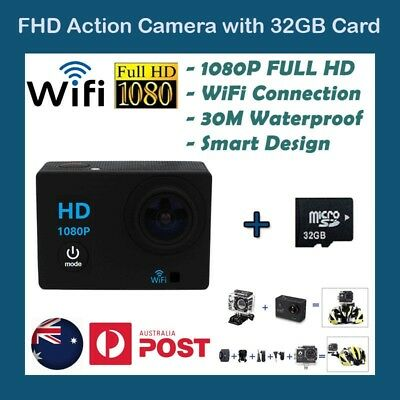 Free 32GB SD Card GoPro WIFI 1080P HD Sports Action Camera Waterproof Camcorder
