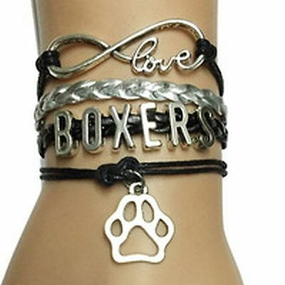Boxer, Dog Bracelet  Black and Silver With Charms, Jewelry