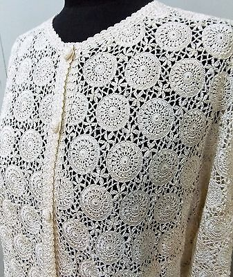 Immaculate Vintage 1970s Size L Hand Crotcheted White Rayon Lace Top- 51cm Bust