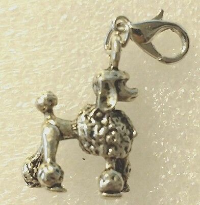 Antique 3D Silver Poodle Dog Pup Bag Purse Charm Dangle Zipper Pull