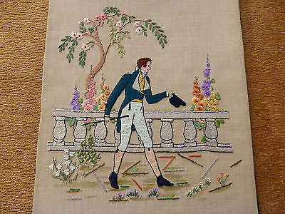 Antique Linen Picture Panel-Hand Embroidered Gentleman